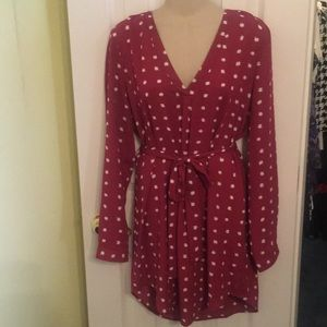 NWT Forever 21 Maroon and white dress- large